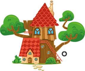 Cartoon illustration of a treehouse.