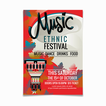 Folk music festival or ethnic music poster design template of national or ethnic musical instruments African djembe