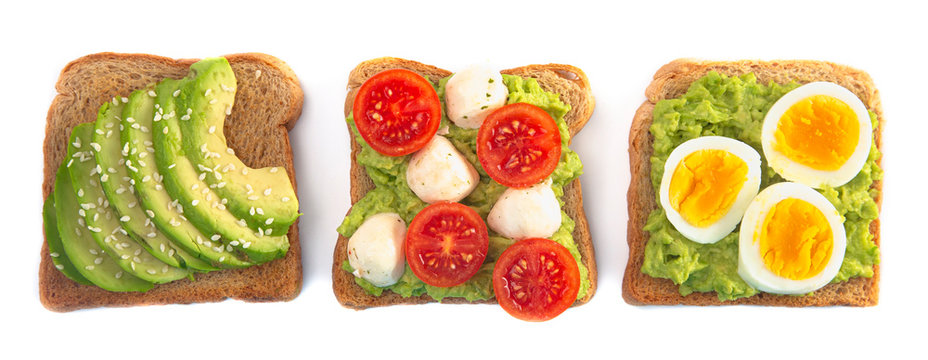 Slice of Avocado Toast with Toppings Isolated on a White Background