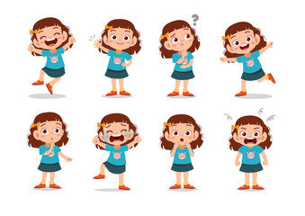 kid child expression vector illustration set bundle