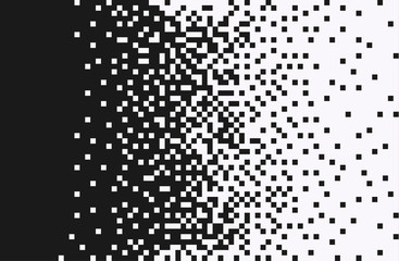 The pixels are scattered, dissolve. Vector monochrome style. Abstract random squares, background. Template. Monochrome style.