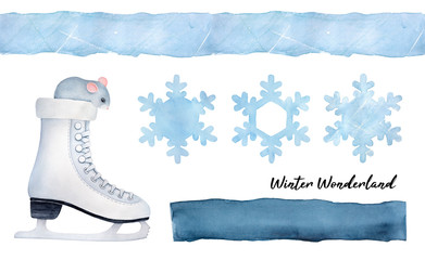 "Seasonal ""Let it Snow"" collection with little gray mouse in ice skate, snowflakes, seamless border, dark blue shape to place message. Watercolour drawing on white, cutout clipart elements for design."