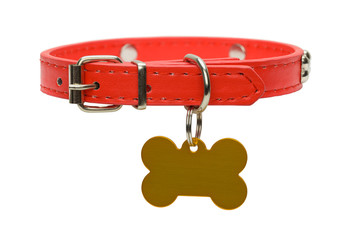 Red Dog Collar and Tag Cut Out Fotobehang
