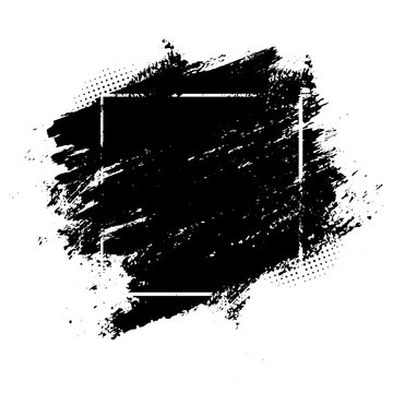 Black spots of paint on a white background. Grunge frame of paint. Vector illustration.