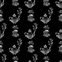 Seamless pattern of teapots and teacups isolated on black background. Chinese seamless pattern of teapots and teacups collection for textile design. Vector outline illustration
