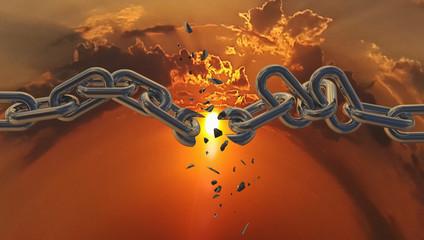 chain breaking broken sky sun hope freedom background - 3d rendering
