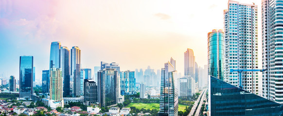 Panoramic Jakarta skyline with urban skyscrapers in the afternoon Wall mural