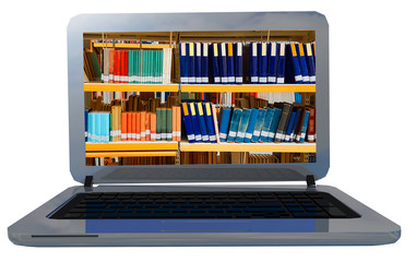 books library on laptop screen red buy learn online - 3d rendering