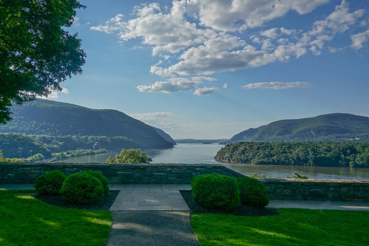 West Point, New York: View of the Hudson River looking north from the Overlook at the United States Military Academy at West Point.