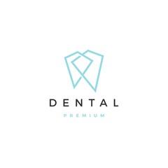 geometric dental logo vector icon illustration line outline monoline