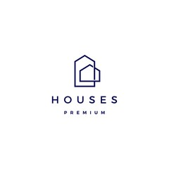 house home architect mortgage facade logo vector icon illustration line outline monoline