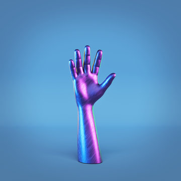glossy hand sculpture isolated. minimal art. 3d rendering