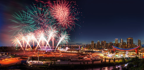 Fireworks Over City Skyline in Calgary, Alberta, Canada