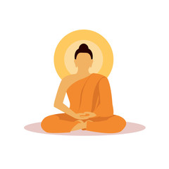 Buddhist monk in meditation in flat design vector.