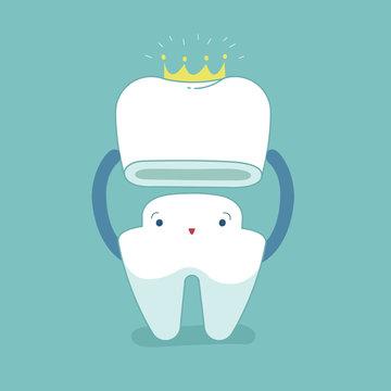 Dental crown, tooth put in crown, dental cartoon concept.