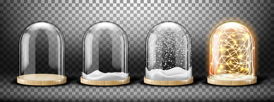 Glass dome with snow and light garland realistic vector. Glass round dome with light wood plate, empty and with white falling snowflakes isolated on transparent background. Holiday interior decoration