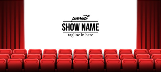 present show name template with red empty seats at cinema movie theater