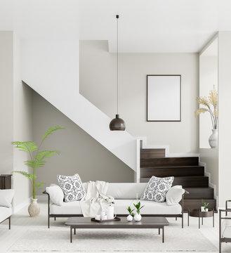 Mock up poster frame in Scandinavian style interior. Minimalist interior design. 3D illustration.