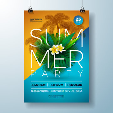 Vector Summer Party Flyer Design with Flower and Tropical Palm Leaves on Blue and Yellow Background. Summer Holiday Celebration Illustration with Exotic Plants and Typography Letter for Banner, Flyer