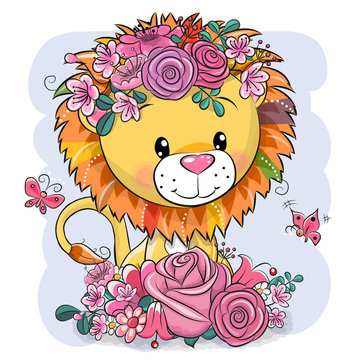 Cartoon Lion with flowers on a white background