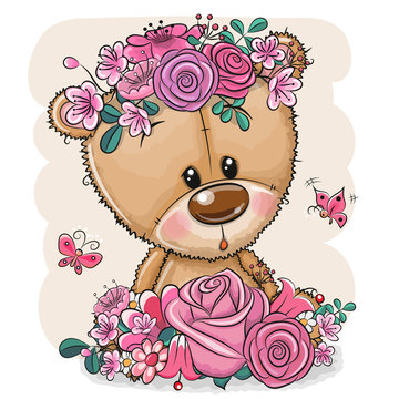 Cartoon Bear with flowers on a white background