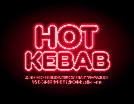 Vector glowing emblem Hot Kebab with red Uppercase Font. Neon illuminated Alphabet Letters, Numbers and Symbols