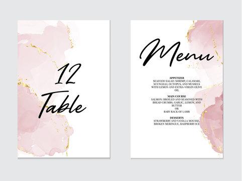 Tender rose violet pastel liquid flow. Watercolor splash, alcohol ink art on wedding template:table number, meny design.