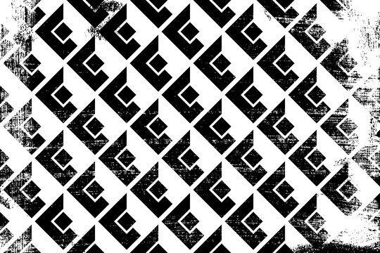 Grunge abstract isometric pattern. Horizontal black and white backdrop.