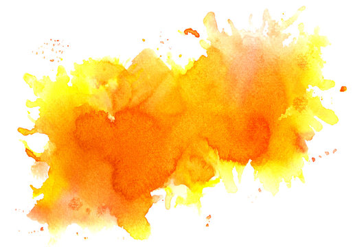 Orange watercolor background.