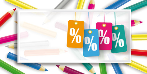 Price Stickers Percent Colored Pencils Frame Header