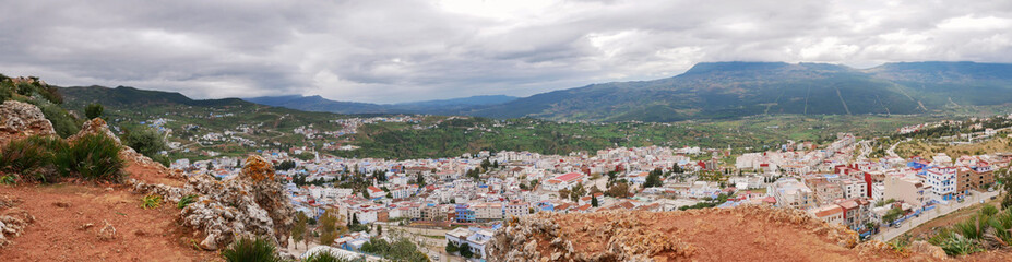 overview panorama of the blue city chefchaouen in morocco