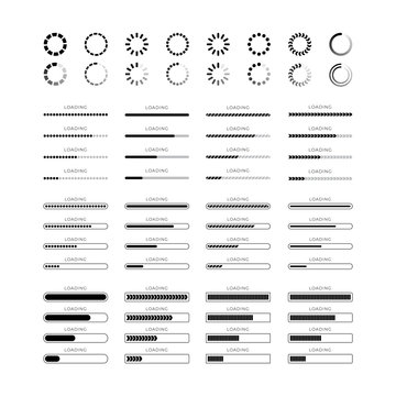 Set loading bar progress icons isolated on white background