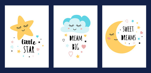 Star cloud moon sleep card set Sleeping character collection Funny posters text Dream big Sweet deams Little star vector