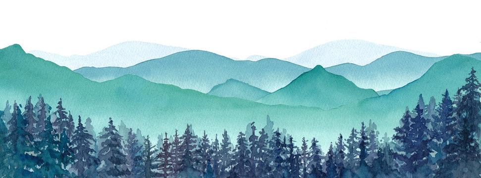 霧の山々と針葉樹林の風景パノラマ。水彩イラスト