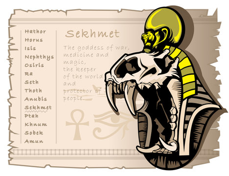 Sekhmet goddess of war in the ancient Egyptian world. Tattoo template and T-shirts.