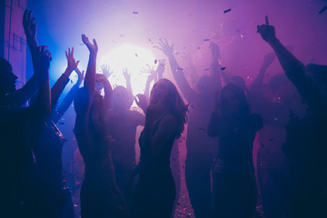 Nice attractive stylish cheerful cheery positive carefree guys ladies having fun hanging out best summer year student festive in new cool bar modern place indoors