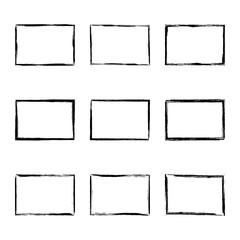 Set hand drawn rectangle frame. Text box from smears. Vector Black stroke border felt-tip pen objects.