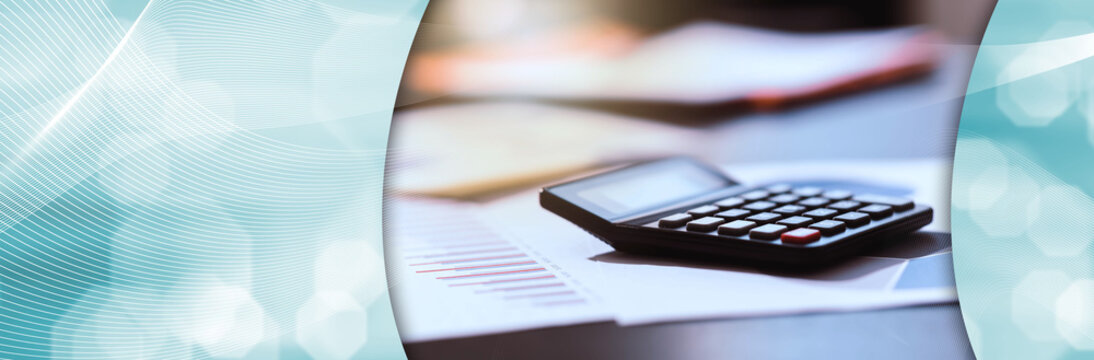 Calculator and financial documents; panoramic banner