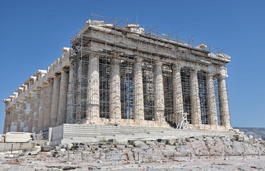 Scenic front view of the Parthenon temple in restoration