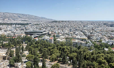 Panoramic top view on the city Athen from the hill of the acropolis