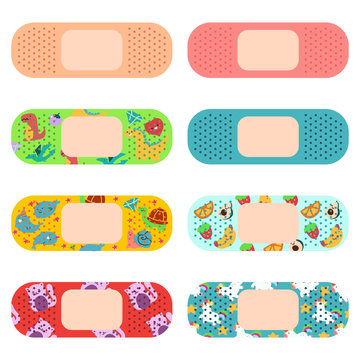 Medical adhesive plaster for adults and kids vector cartoon set isolated on a white background.