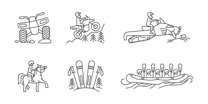 Active lifestyle linear icon set