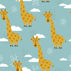 Giraffes, hand drawn backdrop. Colorful seamless pattern with animals, clouds. Decorative cute wallpaper, good for printing. Overlapping background vector. Design illustration
