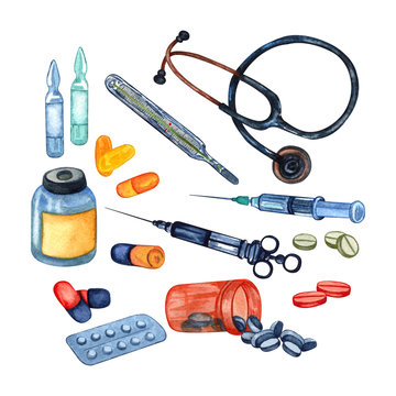 Watercolor set of medical  or pharmacy equipment, drugs, pills, an injection and tools.