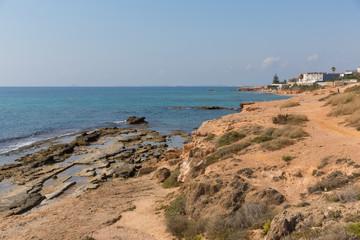 Roman quarry between Mil Palmeras Costa Blanca Spain and Cala de la Lombriz on coast by the sea
