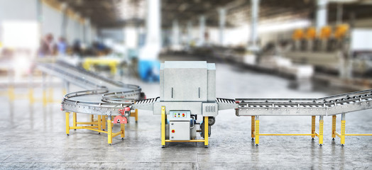Wall Mural - Blank conveyors on a blurred factory background. 3d illustration