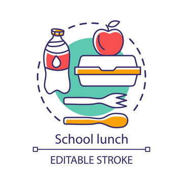School lunchtime, meal break concept icon. Catering advertising idea thin line illustration. Milk bottle, lunch box, apple, and plastic cutlery vector isolated outline drawing. Editable stroke