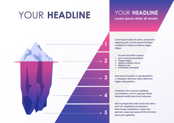 Clean infograpic design with iceberg illustration. Vector image.
