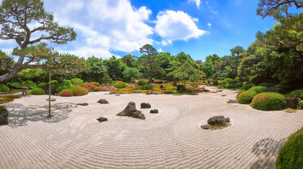 Garden Poster Stones in Sand Traditional japanese stone garden for meditation