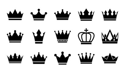Vector flat crowns. Crown silhouettes isolated on white background.